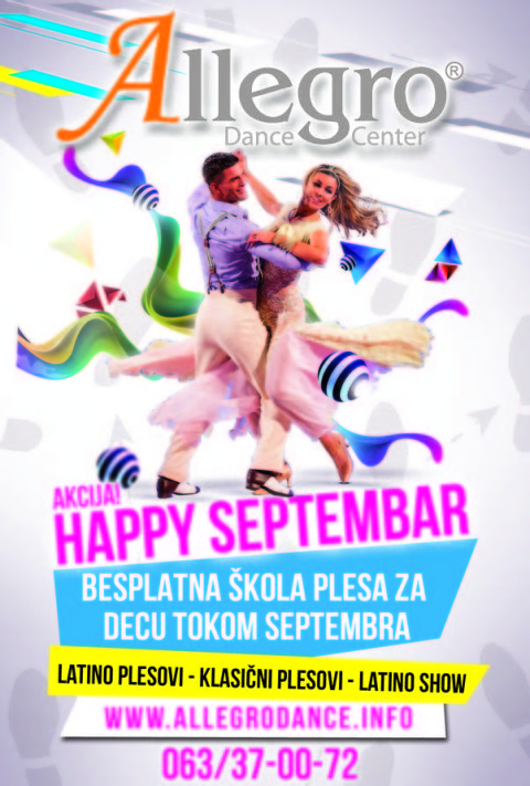 Allegro dance flyer Happy Septembar 2014 AKCIJA
